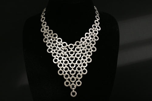 Chanour Antique Pewter Silver Circles Choker