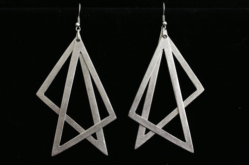 Antique Silver plated Pewter Triangle earrings.