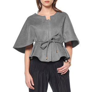 Gracia Faux Suede Cape Jacket - Black or Grey
