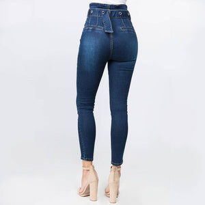 High Waist Paper Bag Skinny Jeans at {price}
