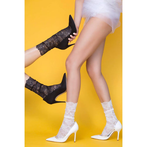 Socks - High Heel Jungle Scalloped Edge Lace Sock- White