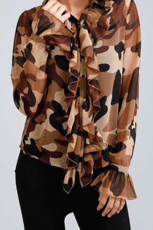 brave+true Cascade Button Down Shirt - camo