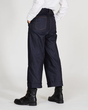 Wide Leg Cuffed Denim Trousers