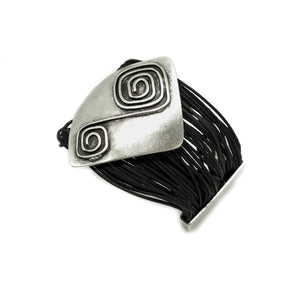 Leather & Pewter Bracelet with Square Detailed Disc