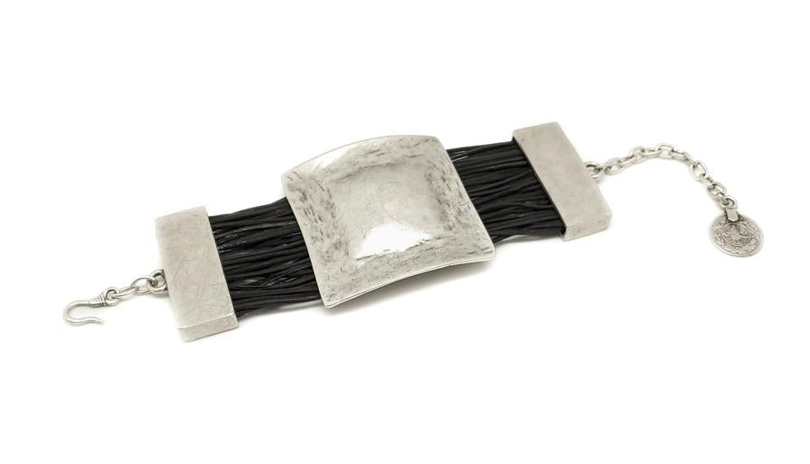 Leather & Pewter Bracelet with Hammered Square Disc