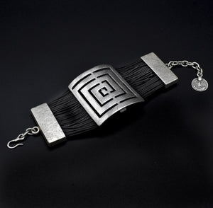 Leather & Pewter Bracelet with Puzzle Square Disc
