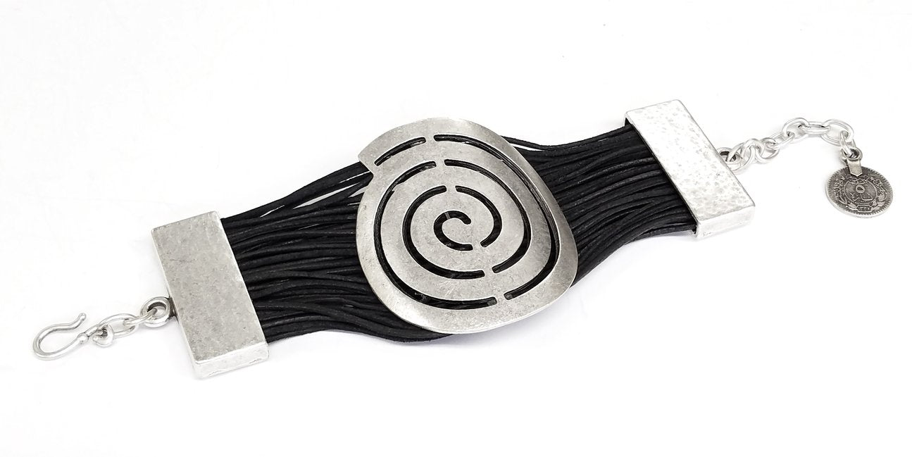 Leather & Pewter Bracelet with Puzzle Circle Disc