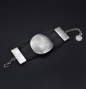 Leather & Pewter Bracelet with Etched Designed Disc