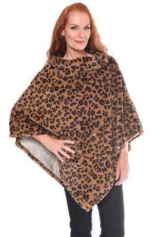 Leopard Fur Collar Poncho at {price}