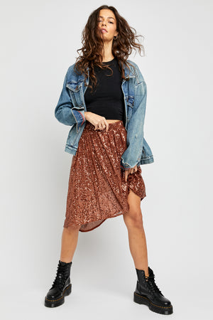 Last Dance Sequin Asymmetrical Hem Skirt