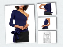 Load image into Gallery viewer, Gracia - One Shoulder Side Ribbon Top - White only