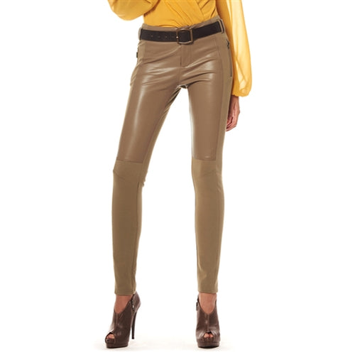 Gracia Front faux leather leggings pants - Taupe