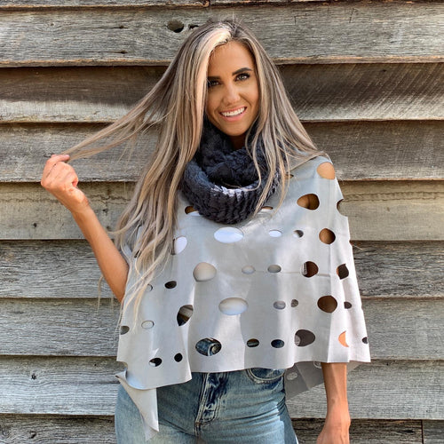 Ponchos - Camille and Company Laser Cut Poncho - Grey
