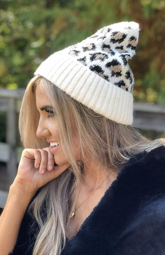 Hats - Camille and Company Leopard Print Beanie - White