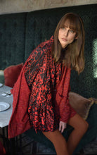 Load image into Gallery viewer, Alembika Brocade Red Cheetah High Low Blouse