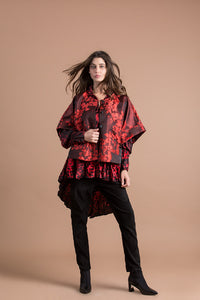 Alembika Brocade Collarless Jacket - Berry