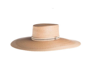Rosalia Flat Top Palm Leaf Straw Hat at {price}
