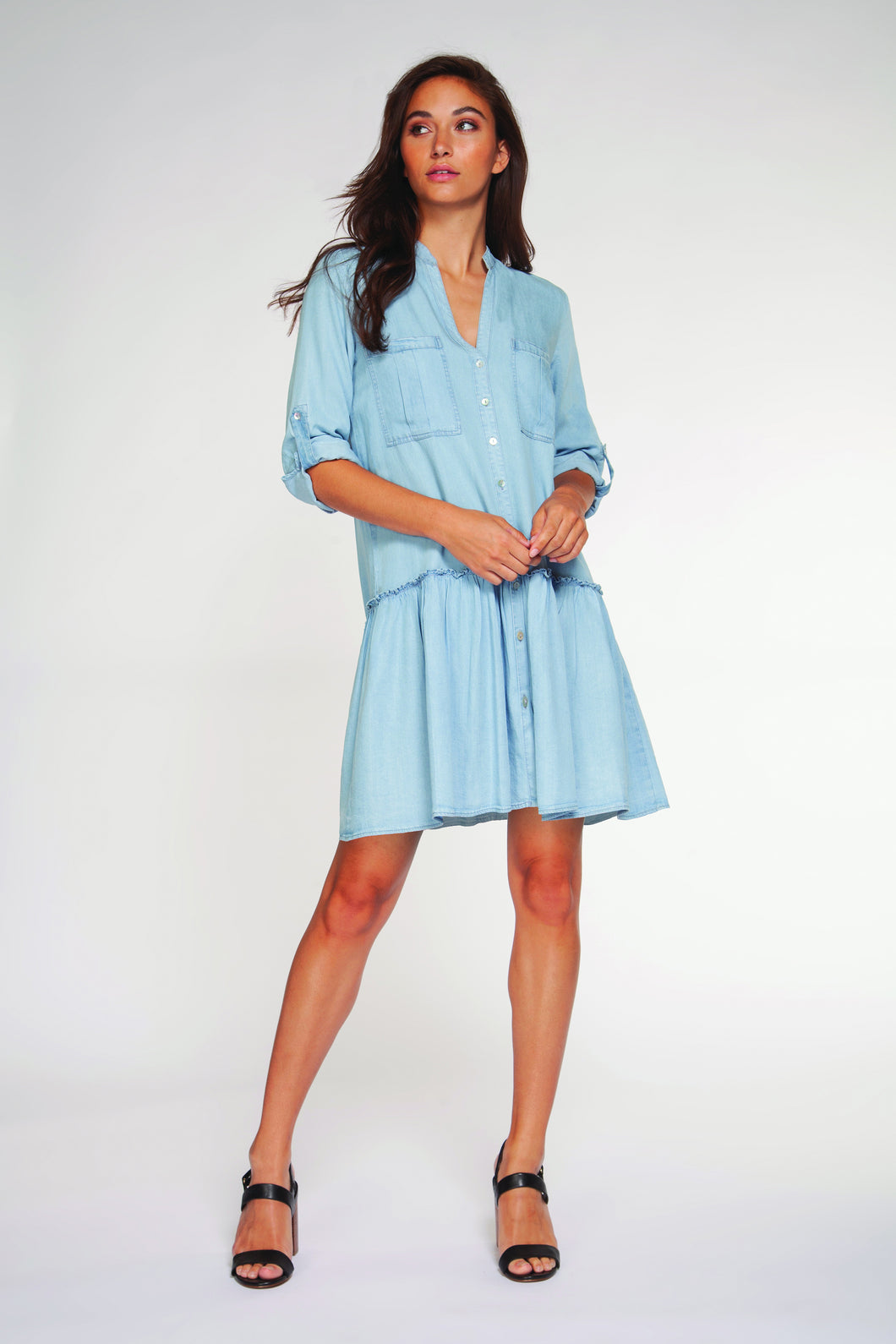 Dex Ruffled Shirt Dress