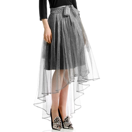 Shiny mesh full skirt at {price}