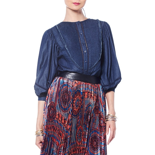 Gracia Puff Sleeve Denim Top