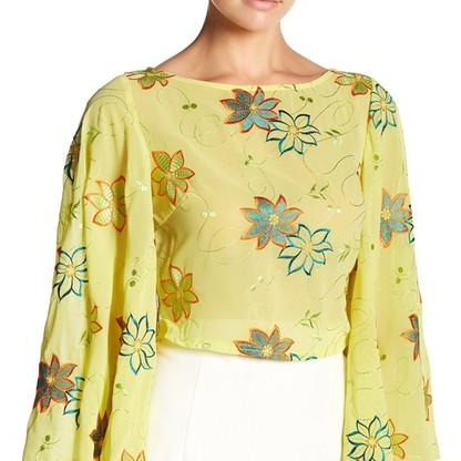 Wide Bell Sleeve Embroidered Shirt
