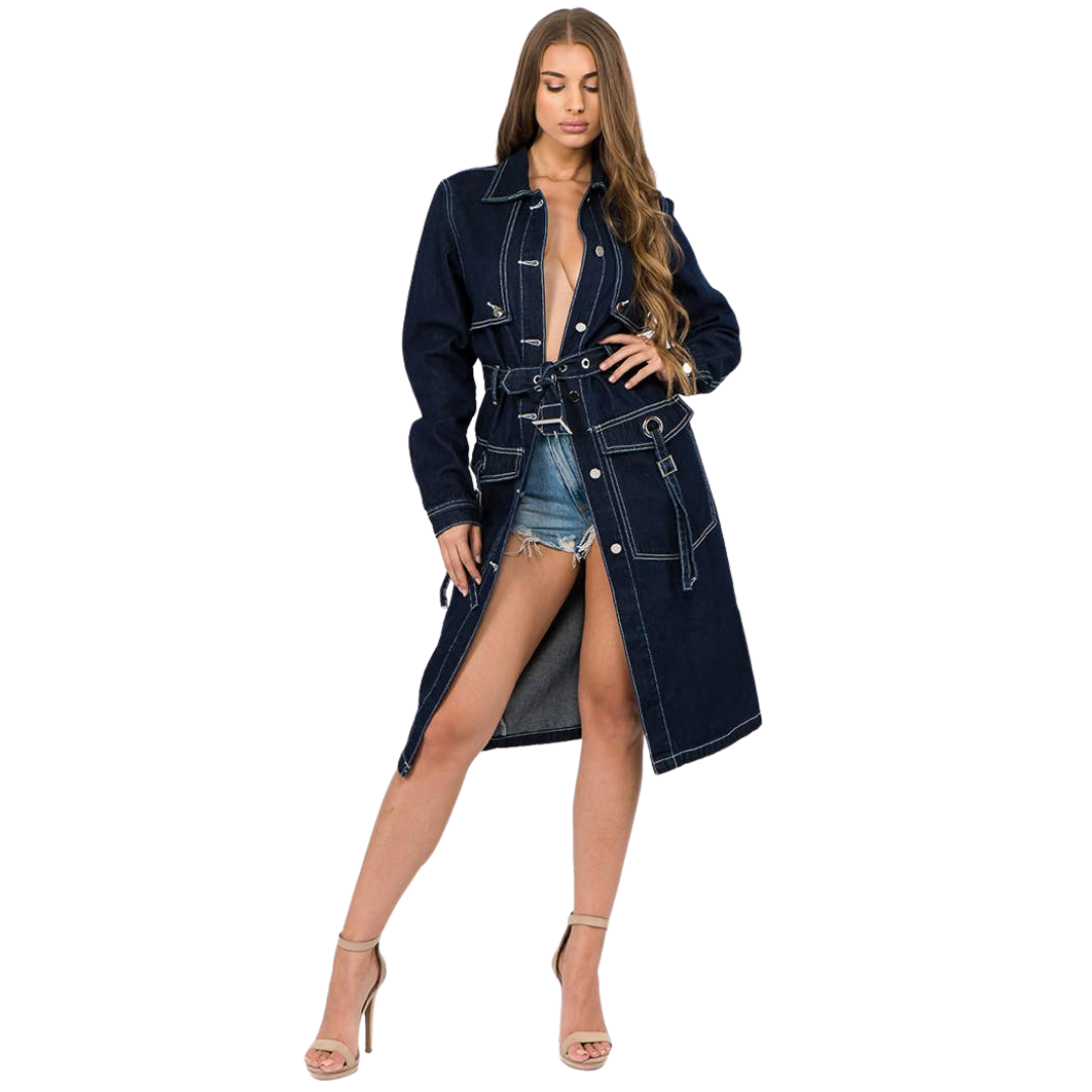 Denim Trench Button Front Coat