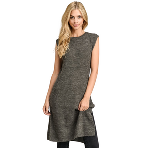 Sleeveless Long Sweater Tunic