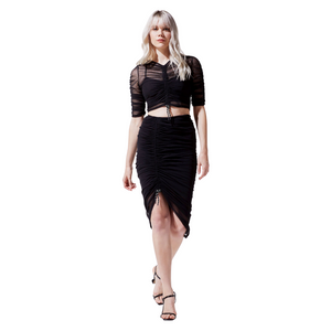Ruched Mesh Skirt - Shade in Black