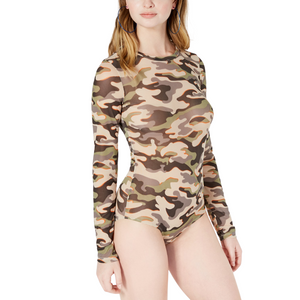 Printed Mesh Camouflage Bodysuit