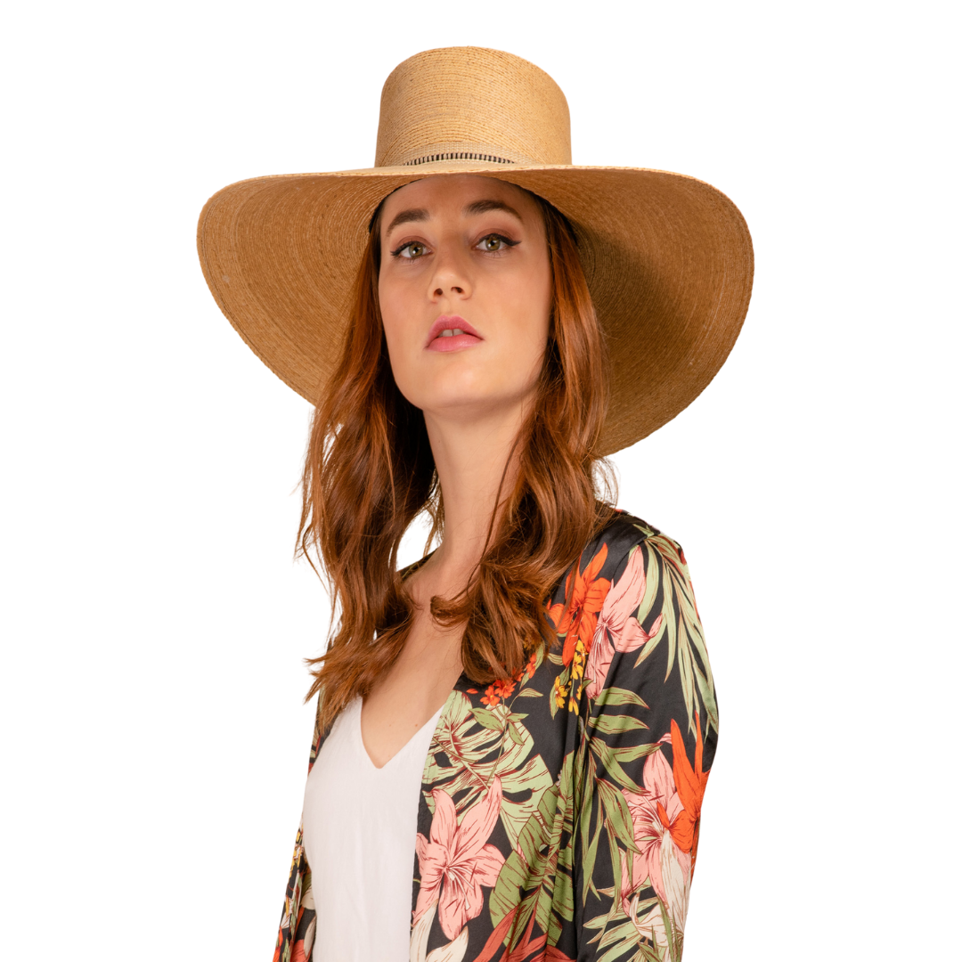 Rosalia Flat Top Palm Leaf Straw Hat