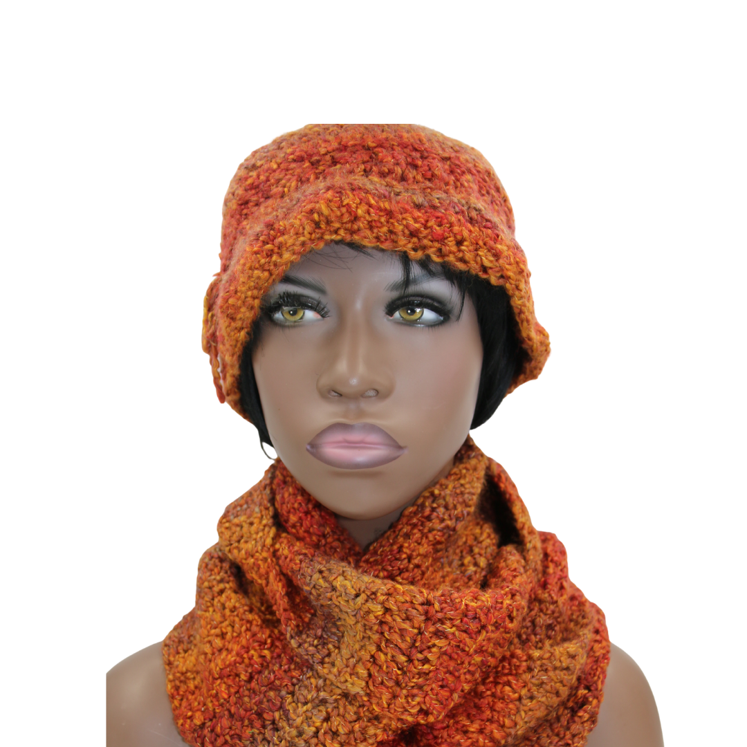 Queen Orange Multi-colored Hat & Infinity Scarf