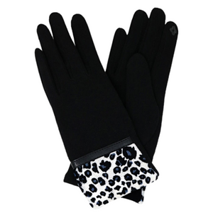 Leopard Pattern cuff detail gloves