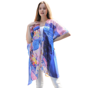 Blue Multi Greece Print Sheer Kimono