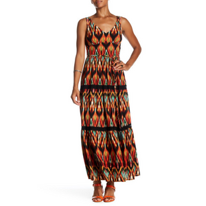 Maxi Dress - Aztec Crepe Print