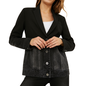 Hybrid Denim Blazer Jacket - Black