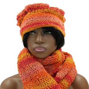 Queen Tangerine Multi Hat & Scarf