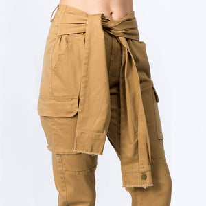 Waist Tie Jogger Cargo Pockets at {price}
