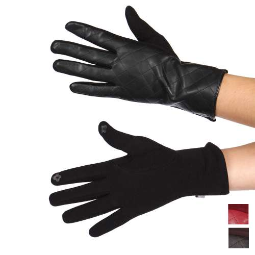 Gloves - Quilted faux leather touch screen gloves