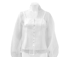 Load image into Gallery viewer, Gracia Button Up Organza Blouse with Slit - White Only