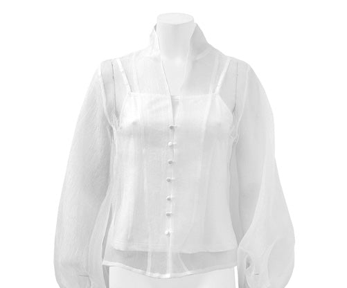 Organza Blouse with Side Slit