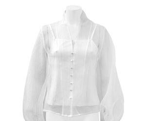 Gracia Button Up Organza Blouse with Slit - White Only