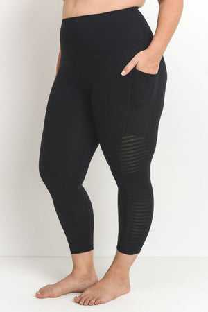 High Waist Capri Side Panel  - Plus Sizes