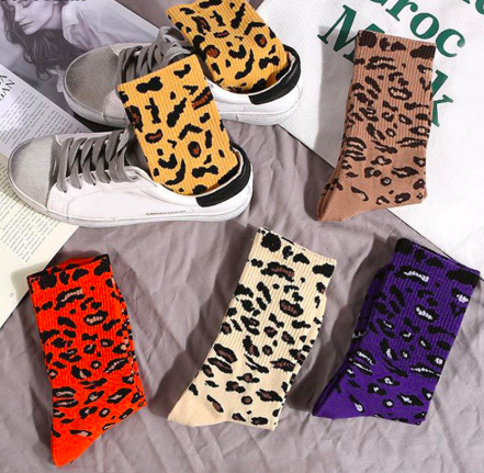 Leopard Print Crew Sock - Brown