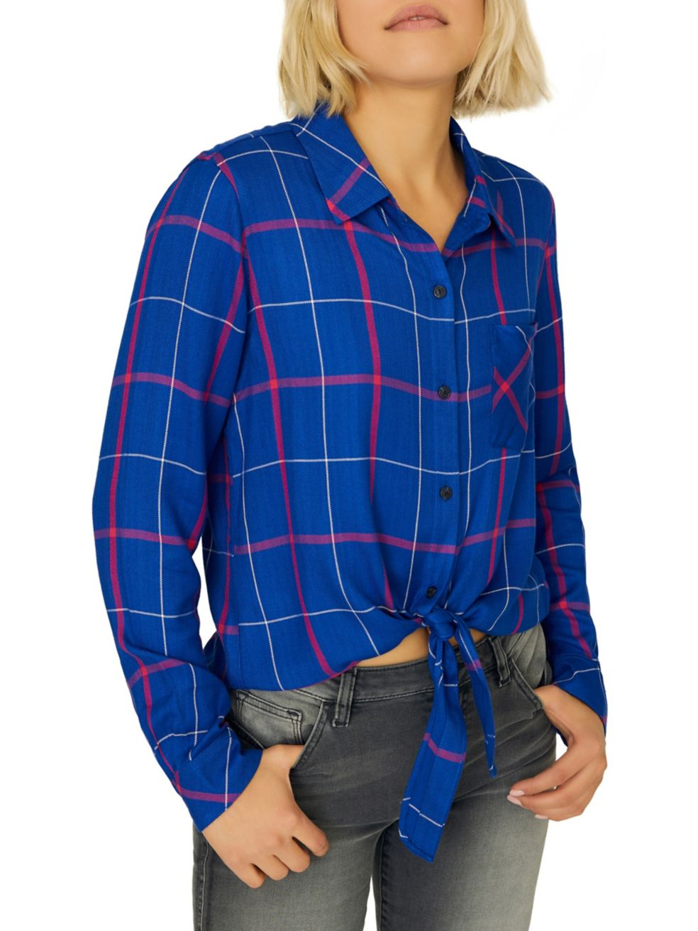 Haley Tie Front Button Down Flannel Shirt at {price}