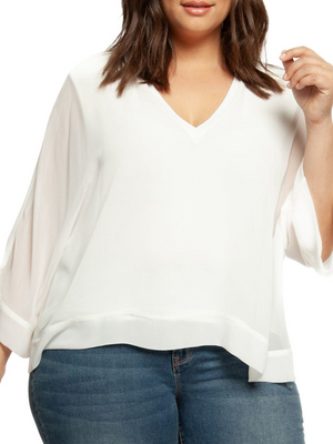 Classic V-neck Blouse - Plus Sizes at {price}