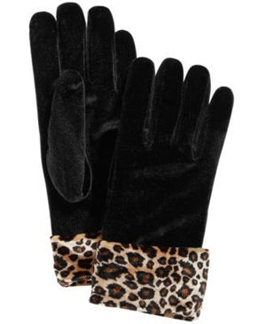 Leopard Pattern cuff detail gloves at {price}