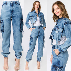 Denim Jacket Pant Set at {price}