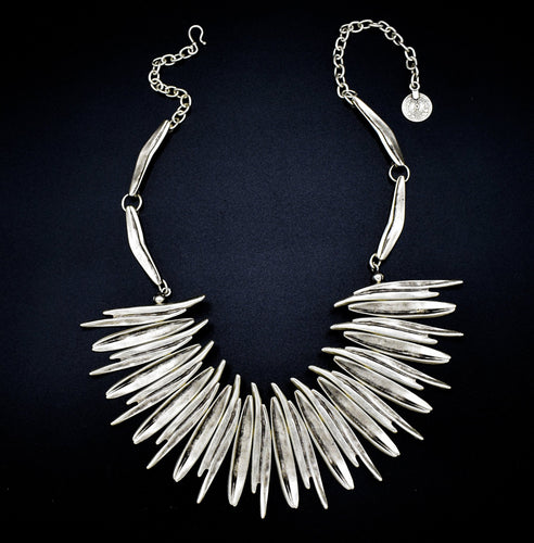 Chanour Antique Silver Plated Pewter Spike Necklace