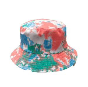 Tie Dye Bucket Hat - Peach/Blue - 100% Cotton