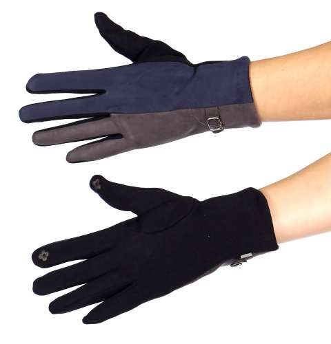 Gloves - Colorblock faux suede touch screen gloves